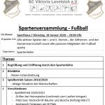 Spartenversamlung Fußball am 28.01.20 für alle passive wie aktive Mitglieder