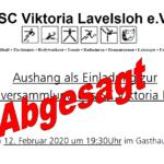 SC Viktoria Lavelsloh verschiebt Jahreshauptversammlung 2021
